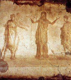 """""""Suzanne et les vieillards"""" IIIe Rome, catacombe de Priscille, chapelle grecque Suzanne, Rome, Chapelle, Painting, Art, Catacombs, Old Men, Art Background, Painting Art"""