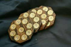 Oak shotgun shell coasters with real shotgun shells -Dark oak color Shotgun Shell Art, Shotgun Shell Crafts, Shotgun Shells, Ammo Crafts, Wood Crafts, Diy And Crafts, Bullet Casing Crafts, Bullet Crafts, Bullet Art