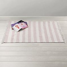 Pink Stripe Rug from The White Company Girl Room, Girls Bedroom, Little White Company, Dhurrie Rugs, Sheepskin Rug, Striped Rug, Bedroom Accessories, Pink Stripes, Little Houses