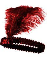 Roaring 20's Red Sequined Showgirl Flapper Headband w/ Feather Plume