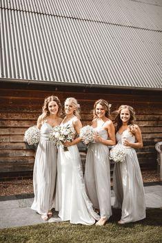 wedding bridesmaids Pale Grey Bridesmaids Dresses From Oasis Wedding Bridesmaid Bouquets, Grey Bridesmaids, Wedding Bridesmaid Dresses, Light Grey Bridesmaid Dresses, Baby's Breath Bridesmaid Bouquet, Bridal Bouquets, Prom Dresses, Bridesmaid Outfit, Brooch Bouquets