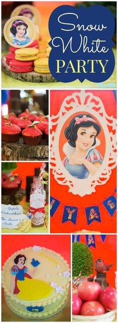 Love this Snow White party with a royal & classy look! See more party ideas at CatchMyParty.com!