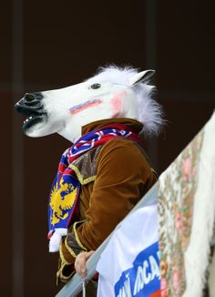 A fan dressed as a horse looks on during the Curling Women's Round Robin match between Japan and Great Britain (c) Getty Images