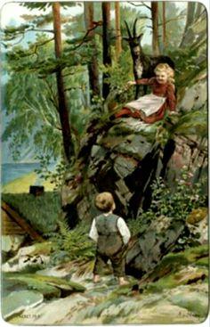 Kunstnerkort Aa Stray jente gutt og geitebukk  brukt 1900 Utg Fr. N.