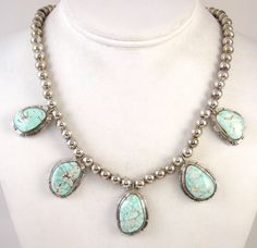 Navajo solid sterling silver Dry Creek turquoise necklace by Native American silversmith Johnny Frank