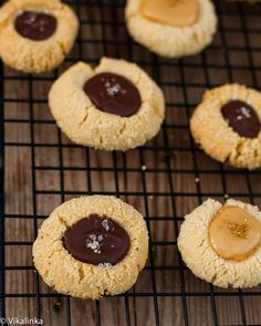 Almond Thumbprint Cookies with Chocolate and Sea Salt - Vikalinka Cookie Desserts, Holiday Desserts, Fun Desserts, Delicious Desserts, Candy Recipes, Sweet Recipes, Cookie Recipes, Galletas Cookies, Thumbprint Cookies