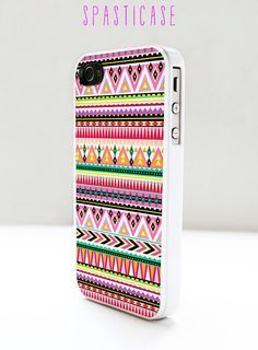 Aztec iPhone 4 or 4S Case - Tribal Geometric Pattern Pink Orange Purple Green - Plastic or Silicone Rubber Case. $15.00, via Etsy.