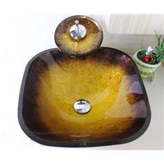 Trempé verre évier avec robinet cascade,drainage et anneau de montage