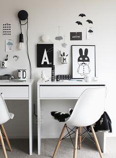 Monochrome kids desk area. from TDC