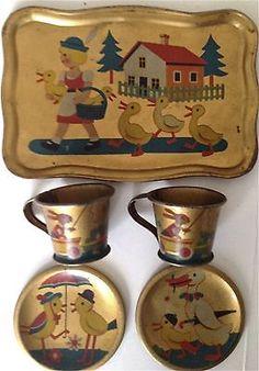 Vintage German Tin Litho Toy Tea Set with Girls Ducks and Bunnies | eBay