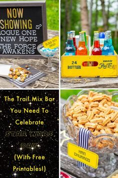 May is May the Fourth Be With You, Star Wars Day! Host a movie night with a trail mix bar to celebrate! Fun Party Themes, Star Wars Day, Trail, Printables, Movie, Bar, Night, Celebrities, Awesome