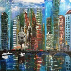 London city scape #city #londonurbansketchers #londoncityscape #cityscape #skyline #londonskyline #artwork #art #riverthames #reflection #impresionism #lovelondon #londonart#love##instagram #picoftheday#contemporaryart #artist #womanartist #modernpainting#contemporaryart #contemporaryartist #persianartist #modernart