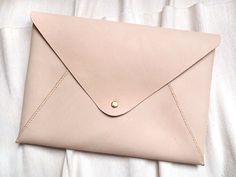 Personalized 11 Macbook Air Case in Envelope Clutch  - Leather - Nude - Hand Stitched