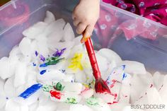 Painting ice cubes is one fantastic chilly sensory activity. It's a mix of art & sensory that's perfect for toddlers & preschoolers. A great indoor activity