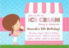 There is a large selection of adorable ice cream theme party invitations for your child's birthday celebration.  This page also features other party supplies such as favors, cake decorations and party activities.