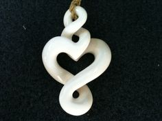 Eternal Love with Infinity Twist Design Bone Necklace.  Hand carved custom jewelry