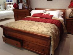 French style sleigh bed - this one has useful storage drawers.