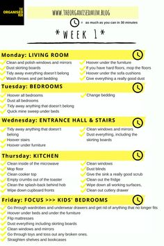 The Organised Mum Method Week 5 checklist. I use this method for keeping up to date with my housework! Half an hour cleaning a day and nothing at the weekend!
