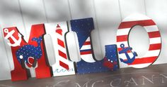 Personalized Wooden Wall Letters for Nurseries by AllysCustomArt, $13.00Personalized Wooden Wall Letters for Nurseries and Kids Rooms - Nautical Red White and Navy Blue Theme with Anchors, Boats, Lighthouse Ocean Custom name hanging above crib
