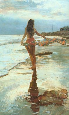 Steve Hanks Ocean Breeze painting for sale - Steve Hanks Ocean Breeze is handmade art reproduction; You can shop Steve Hanks Ocean Breeze painting on canvas or frame. Art Plage, Painted Ladies, Foto Art, Watercolor Artists, Watercolour Art, Woman Painting, Mother Painting, Beach Art, Beautiful Paintings