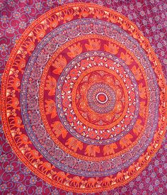 MAROON ELEPHANT Mandala Cotton Wall Tapestry Bohemian Hippie Boho Wall Hanging Tapestries Throw Bed Bedspread Mandala Bedding Home Decor Art