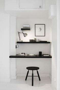 #office  #room  #minimal  #space  #interior  #design  #home  #decor  #black  #shelfs