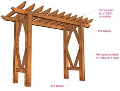 How to build a beautiful DIY pergola ( beginner friendly DIY grape arbor )! Free building plan with step by step drawings and lots of detailed photos. Build it easily for your garden without buying pergola kits! Diy Pergola, Diy Arbour, Building A Pergola, Small Pergola, Pergola Canopy, Pergola Attached To House, Pergola Swing, Metal Pergola, Pergola With Roof