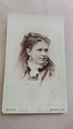 A CDV by Motes of a wealthy looking Atlanta woman. From the J. Fred Rodriguez Atlanta Collection.
