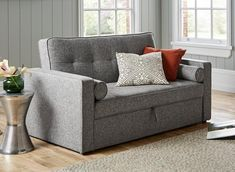 The Haze 2 seater sofa bed combines practicality with versatility for this charming sofa bed solution. To use, simply pull out the drawer underneath the seats and lift the handle to pop out the sofa bed mechanism to create an occasional sleeper. Grey Sofa Bed, Futon Sofa, 2 Seater Sofa, Sofa Beds, Foam Sofa Bed, Sofa Bed Mechanism, Pull Out Sofa, Bed Dimensions, Sofa Colors