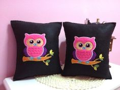 embroidery owlie mini pillow