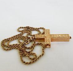 """Antique Victorian 9ct Rose Gold Ornate Cross 9k Pendant 10k RopeChain 22"""" 14.4Gr #NotSigned #Pendant"""
