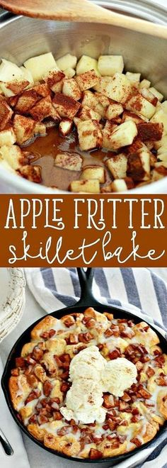 Apple Fritter Skillet Bake. Is it a dessert, yes. Is it something you can bake for breakfast, yes! It's something you could make while camping, yes! We absolutely love this recipe and especially love things baked in a cast iron skillet.