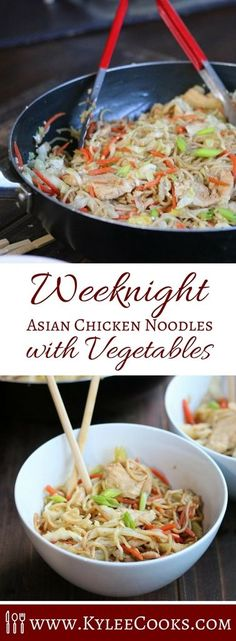 A super easy, fast and delicious weeknight meal, this Asian Chicken dish is packed with chicken, noodles, vegetables and a splash of Asian flair in the form of a tasty, tangy sauce to pull it all together!