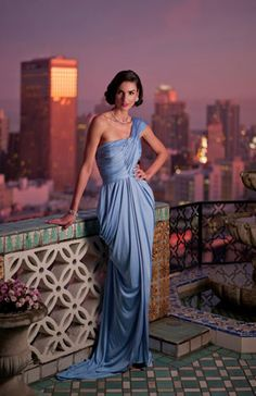Modern City Goddess: Grecian draped silk knit jersey gown shown in Sunset Blue, Karen Caldwell Design. Bridesmaid Dresses, Prom Dresses, Formal Dresses, Wedding Dresses, Dress Prom, Bridesmaids, Glamour, Silk Gown, Cocktail Dressing