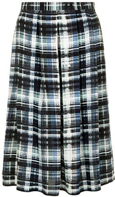Dorothy Perkins Navy and Green Check Midi Skirt on shopstyle.com