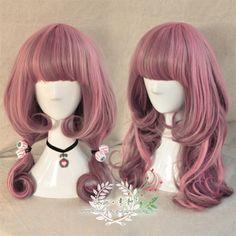 ●素和●日系 AMO内卷原宿风lolita 粉色渐变少女长卷发日常假发-淘宝网
