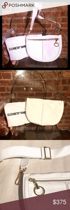 ELIZABETH AND JAMES Scott Mini Moon Brand new with tags white leather Small Grain Scott Mini Moon bag with gold hardware. Beautiful mid size bag can be worn one shoulder or crossbody. Comes with original dust bag. Elizabeth and James Bags