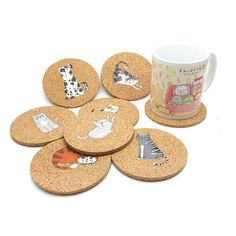 8 PCS Lovely Cartoon Drink Coaster Tea Coffee Cup Mat Pads Table Decor Tableware in Home & Garden, Kitchen, Dining & Bar, Bar Tools & Accessories Cat Coasters, Wood Coasters, Drink Coasters, Aesthetic Header, Coffee Cups, Tea Cups, Cup Mat, Dining Table In Kitchen, Dining Sets