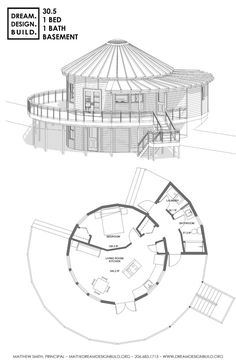 Yurt design for construction by Matthew Smith. These designs include bedrooms, bathrooms, office and lofts. Single and double story builds. Round House Plans, Dream House Plans, House Floor Plans, Wooden Yurts, Architecture Blueprints, Yurt Home, Resort Plan, Circle House, Yurt Living