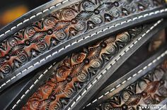 Tooled pattern on the Wampus belt by SteveB Leatherworks.