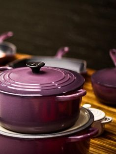 I fell in love with the purple Le Creuset set!