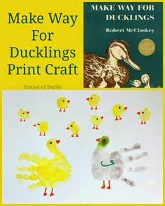Make Way For Ducklings Print Craft - House of Burke Book Activities, Preschool Activities, Teaching Resources, Make Way For Ducklings, Art For Kids, Crafts For Kids, Five In A Row, Footprint Crafts, Handprint Art