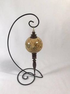 Turned Wood Ball /& Icicle Christmas Ornament Mahogany and Birch