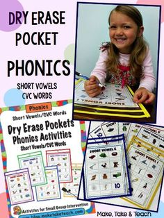 Dry erase pocket phonics for short vowels and CVC words