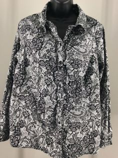 Just My Size 2X Black White Floral Button Front Blouse Long Sleeve #JustMySize #Blouse #Career