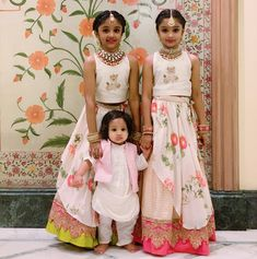My heartbeats 💗 Girls outfits by and the stunning custom jewelry Kids Frocks, Frocks For Girls, Dresses Kids Girl, Kids Outfits, Kids Dress Wear, Kids Gown, Kids Wear, Kids Indian Wear, Kids Ethnic Wear