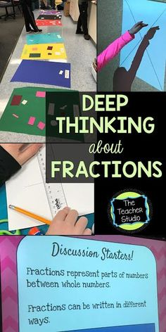 "Teaching fractions can be intimidating...check out this blog post to see a great way to kick off a unit, get students talking about fractions and equal parts, and practice their ""math talk""!"
