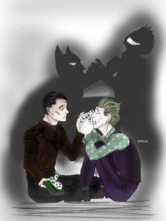 John Doe and Bruce / Batman and Joker from Batman the enemy within Gotham Batman, Batman Vs, Batman Telltale, Bat Joker, Creepypasta Cute, The Enemy Within, Cool Art, Awesome Art, Batman Family