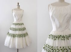vintage 1950s dress // 50s embroidered chiffon by TrunkofDresses