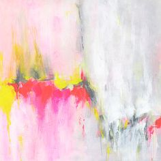 Yellow Red Original Abstract Painting 12x12 acrylic contemporary art on canvas board grey neon pink